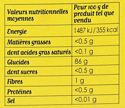 Maïzena Fleur de Maïs Sans Gluten - Nutrition facts