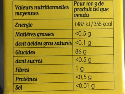 Maïzena Farine de Maïs Sans Gluten - Informations nutritionnelles - fr