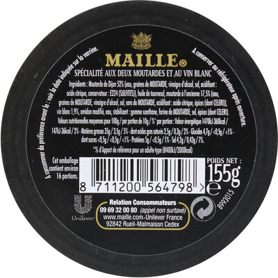 Maille Mayonnaise Fine Qualité Traiteur Verre 150g - Ingrediënten