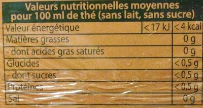Thé vanille avec de la gousse de vanille - Nutrition facts