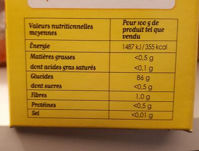 Maizena Fleur de Maïs Sans Gluten Format Familial - Informations nutritionnelles - fr