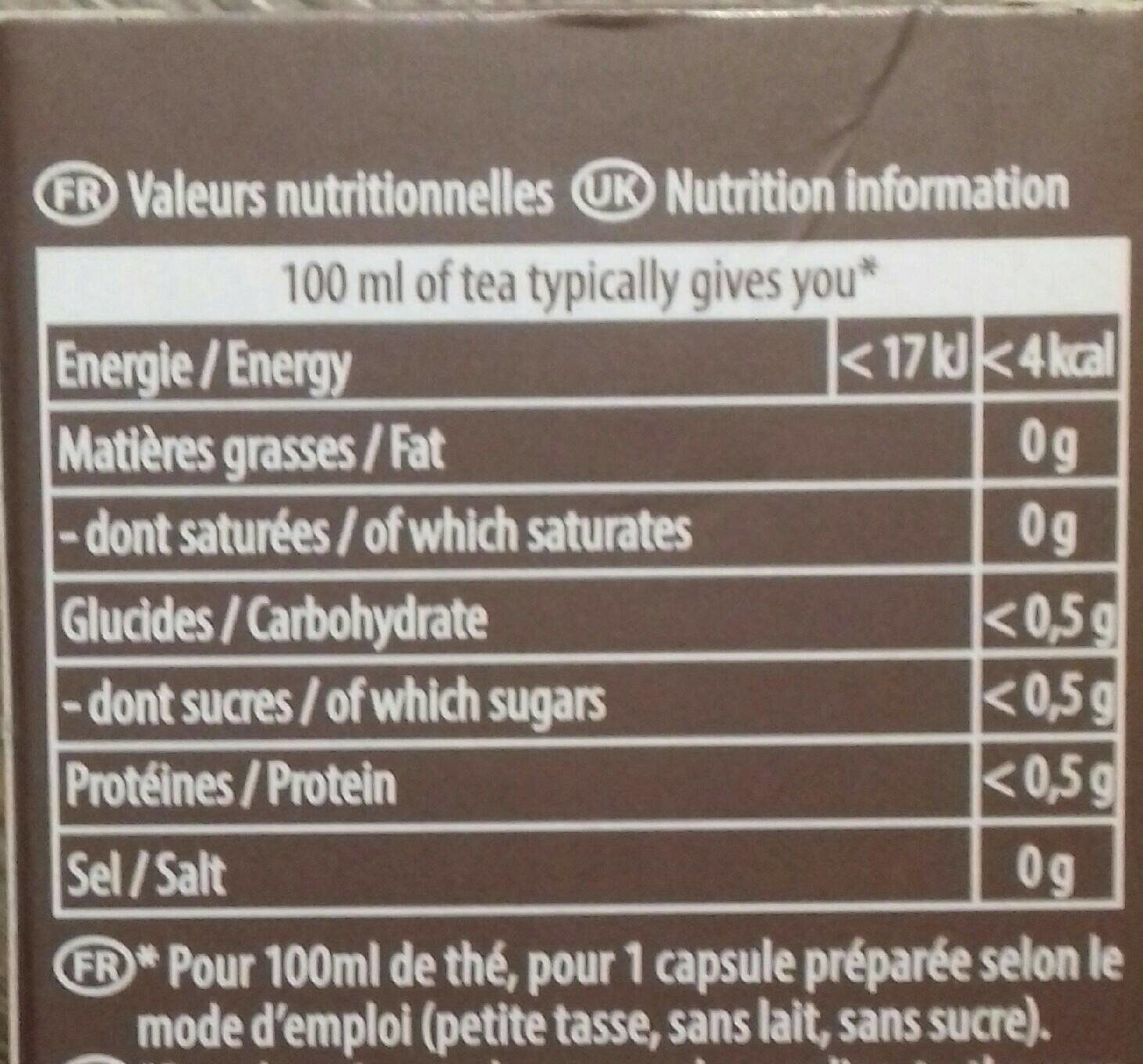 TO by lipton - Nutrition facts - fr