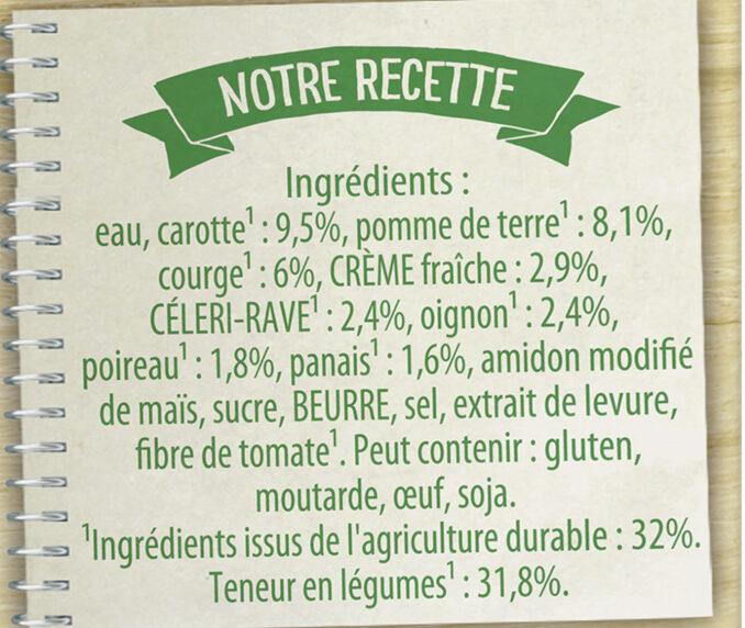 Knorr Les Classiques Soupe Liquide Douceur d'Automne à la crème fraîche 1l - Ingredients - fr