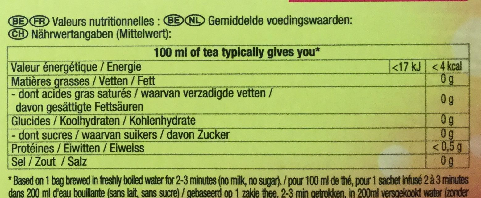 Yellow label tea - Voedingswaarden
