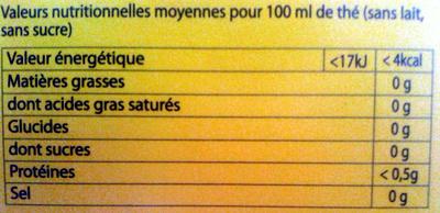 Lipton Yellow Label Tea x50 - Informations nutritionnelles - fr