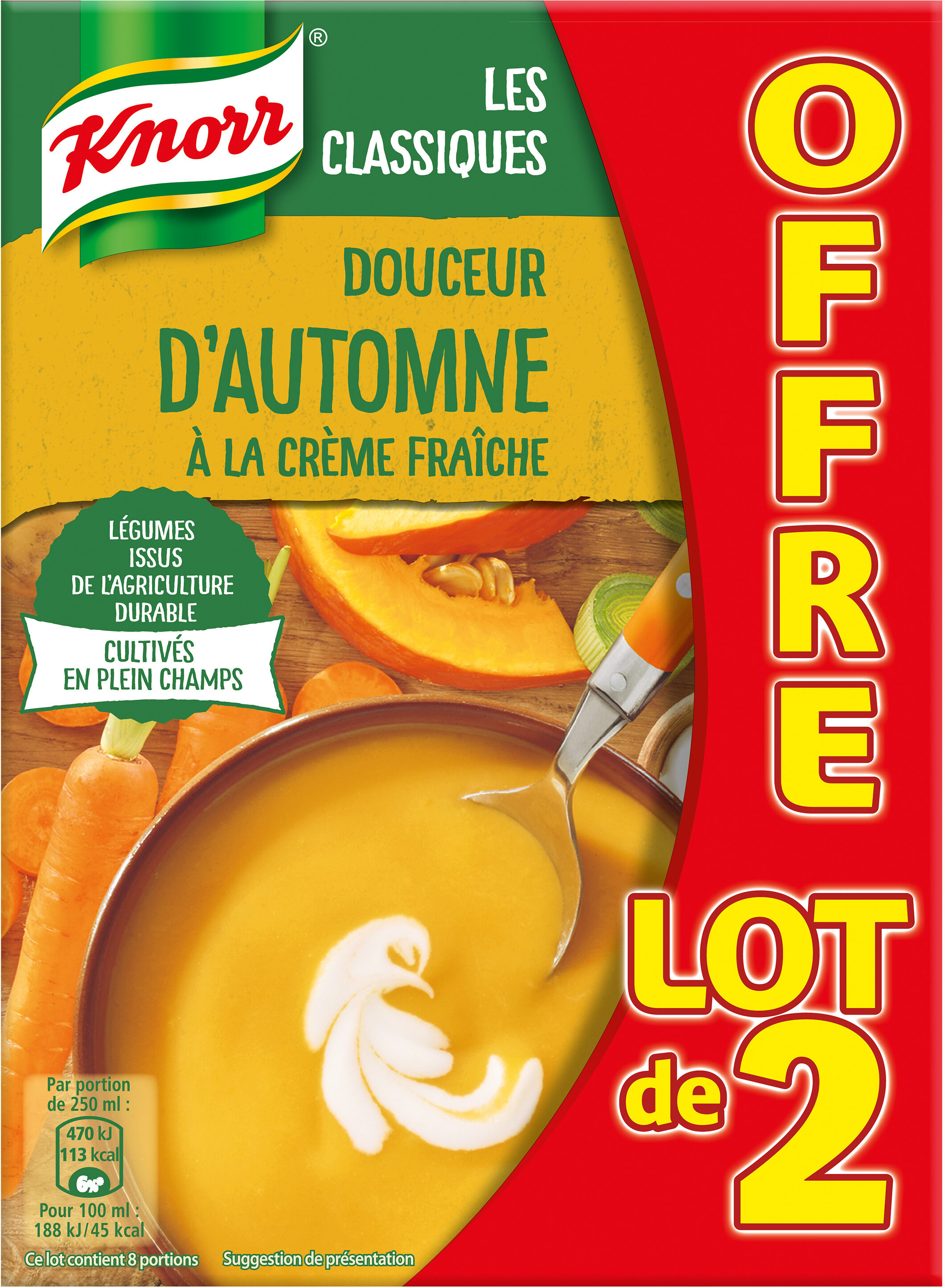 Knorr Les Classiques Soupe Liquide Douceur d'Automne à la Crème Fraîche Brique Lot 2x1L - Product - fr