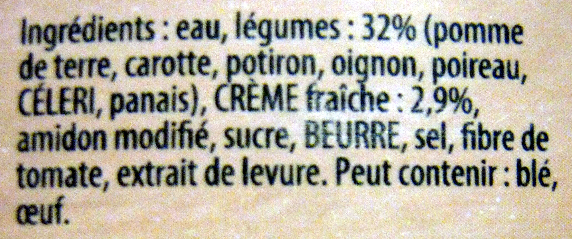 Knorr Les Classiques Soupe Liquide Douceur d'Automne à la Crème Fraîche Brique Lot 2x1L - Ingredients - fr