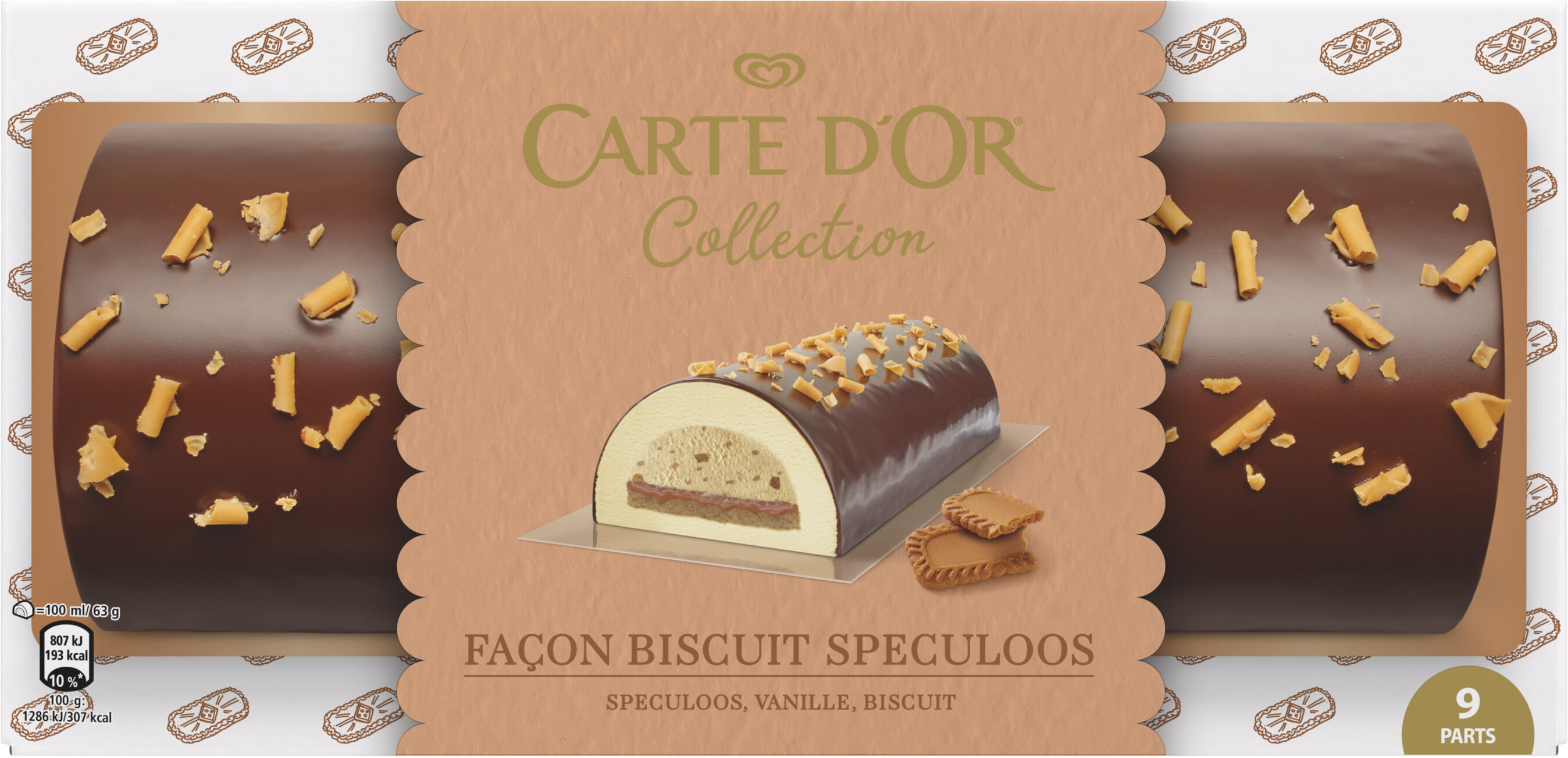 Carte D'or Buche Glacée Biscuit Speculoos 9 parts 900ml - Product