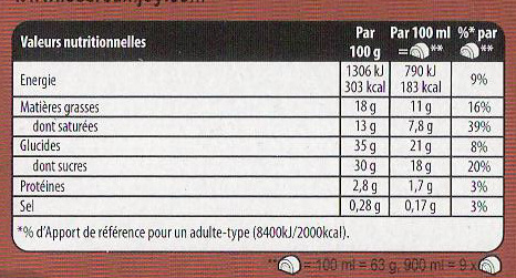 Carte D'or Buche Glacée Biscuit Speculoos 9 parts 900ml - Voedingswaarden - fr