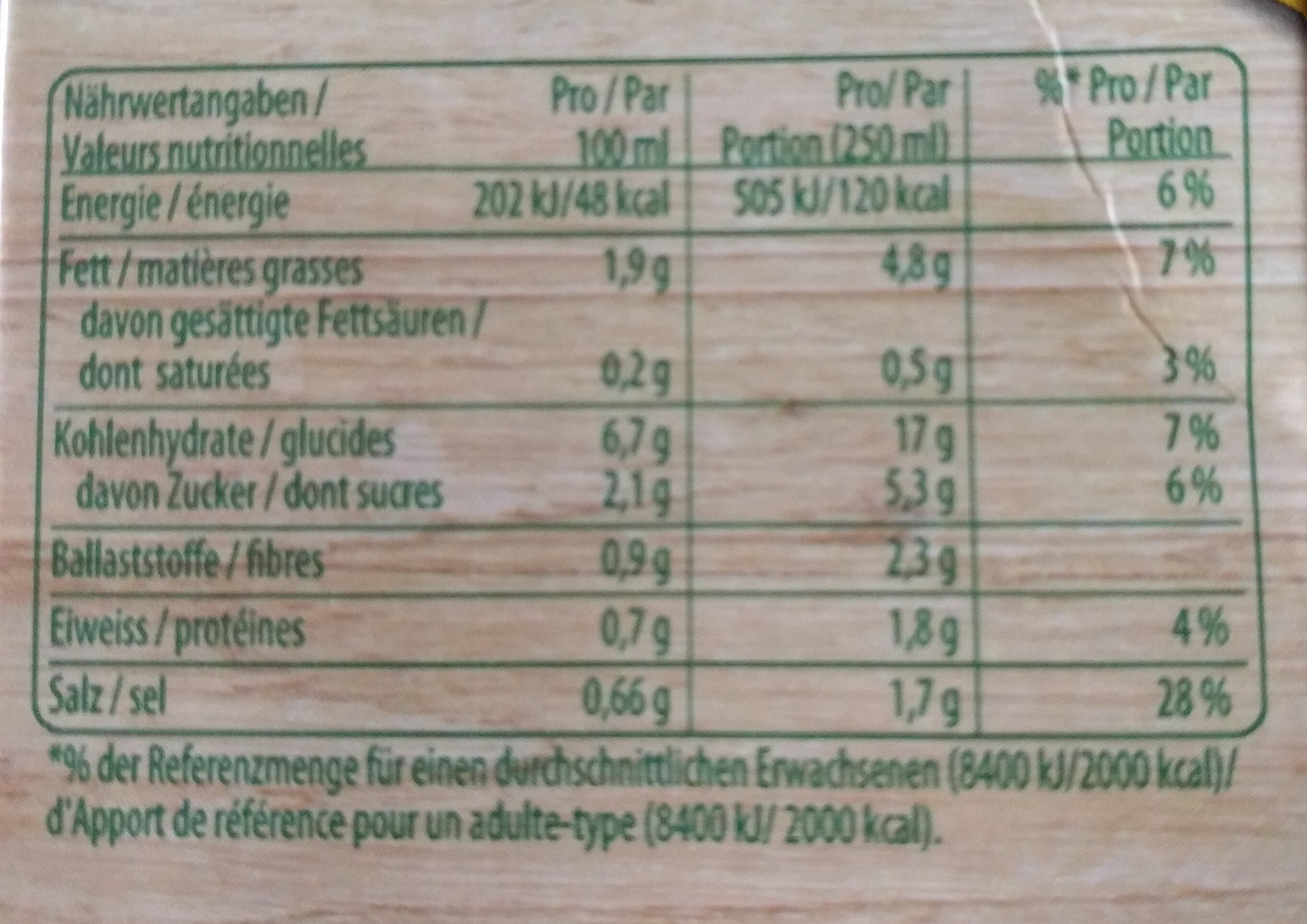 Cremesuppe mit 9 Gemüsen - Voedingswaarden - fr