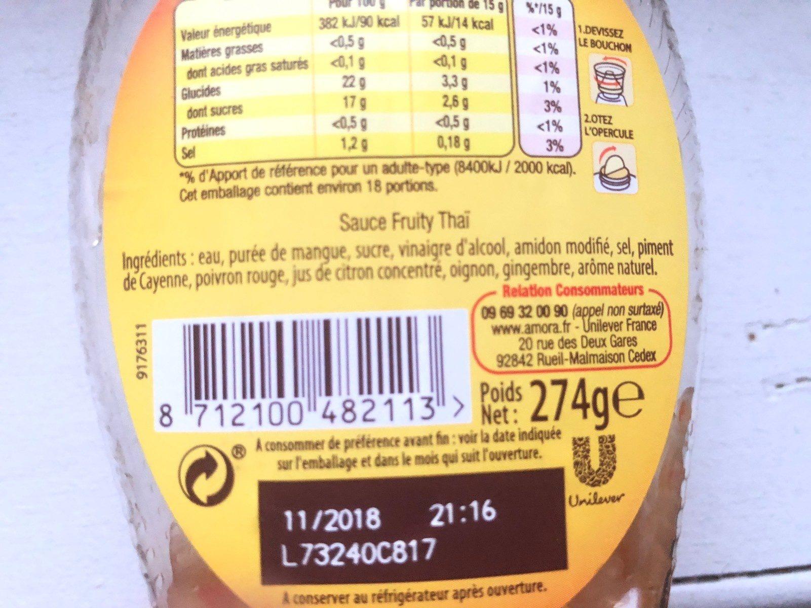 Sauce Fruity Thaï - Ingrediënten