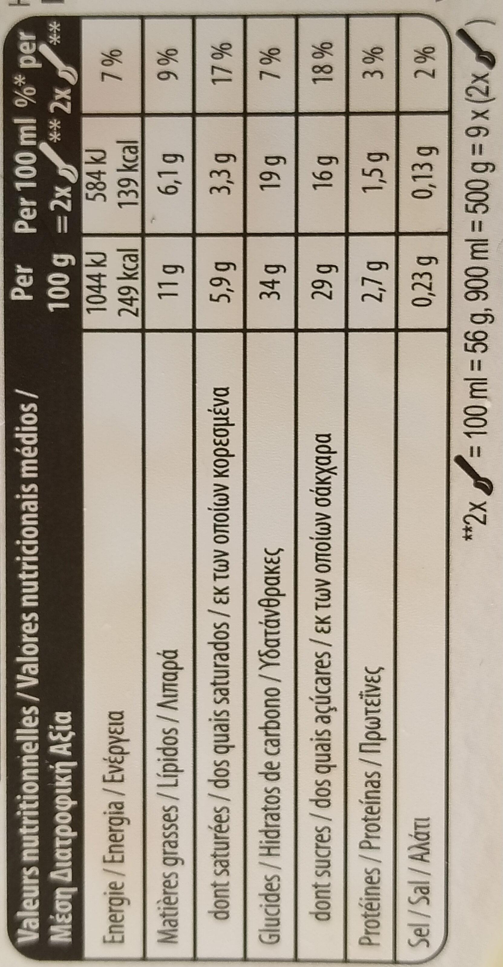 Carte D'or Glace Vanille Noix de Pécan 900ml - Valori nutrizionali - fr