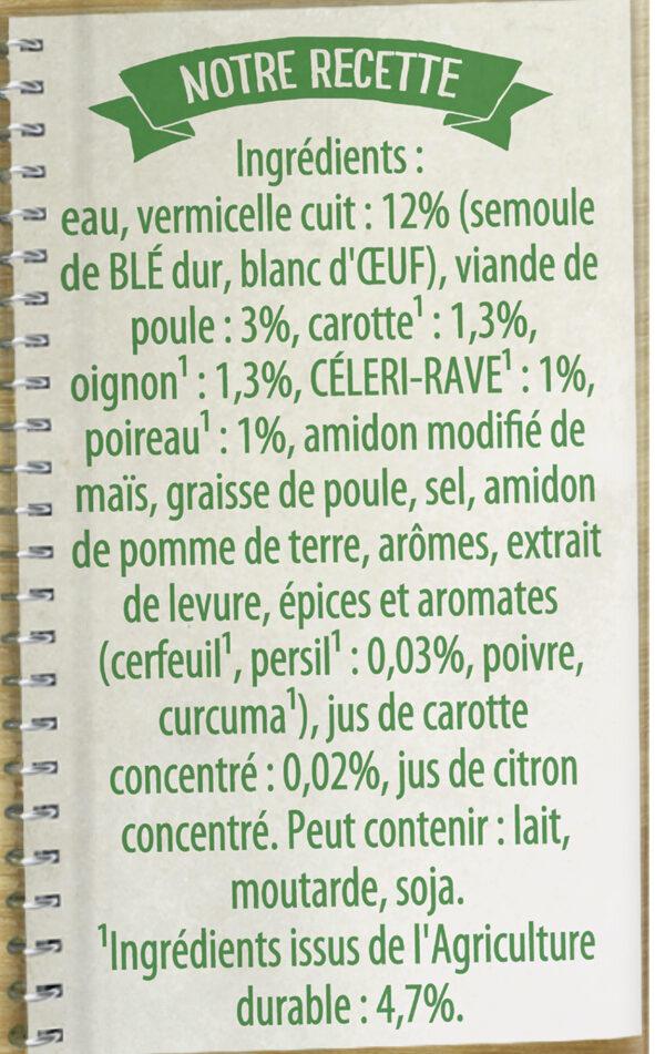Knorr Saveurs d'Antan Soupe Poule Vermicelles 50cl - Ingredients - fr