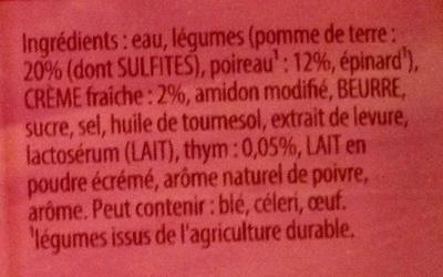 Secrets de Grand-Mère poireaux, pommes de terre - Ingrediënten - fr