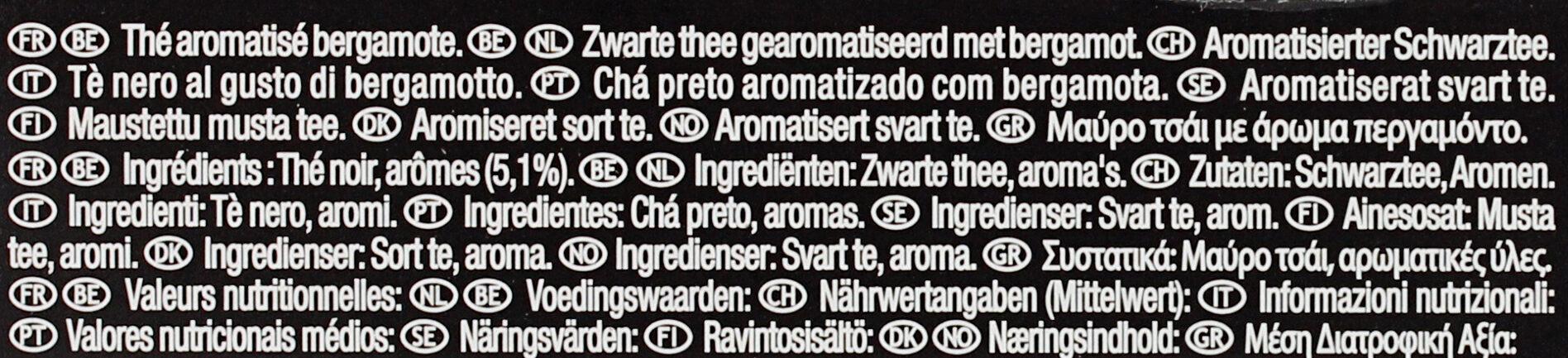 Lipton Thé Noir Rich Earl Grey 25 Sachets - Ingredients - fr