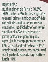 Knorr Sauce Champignons à la Crème Fraîche Brique - Ingrediënten - fr