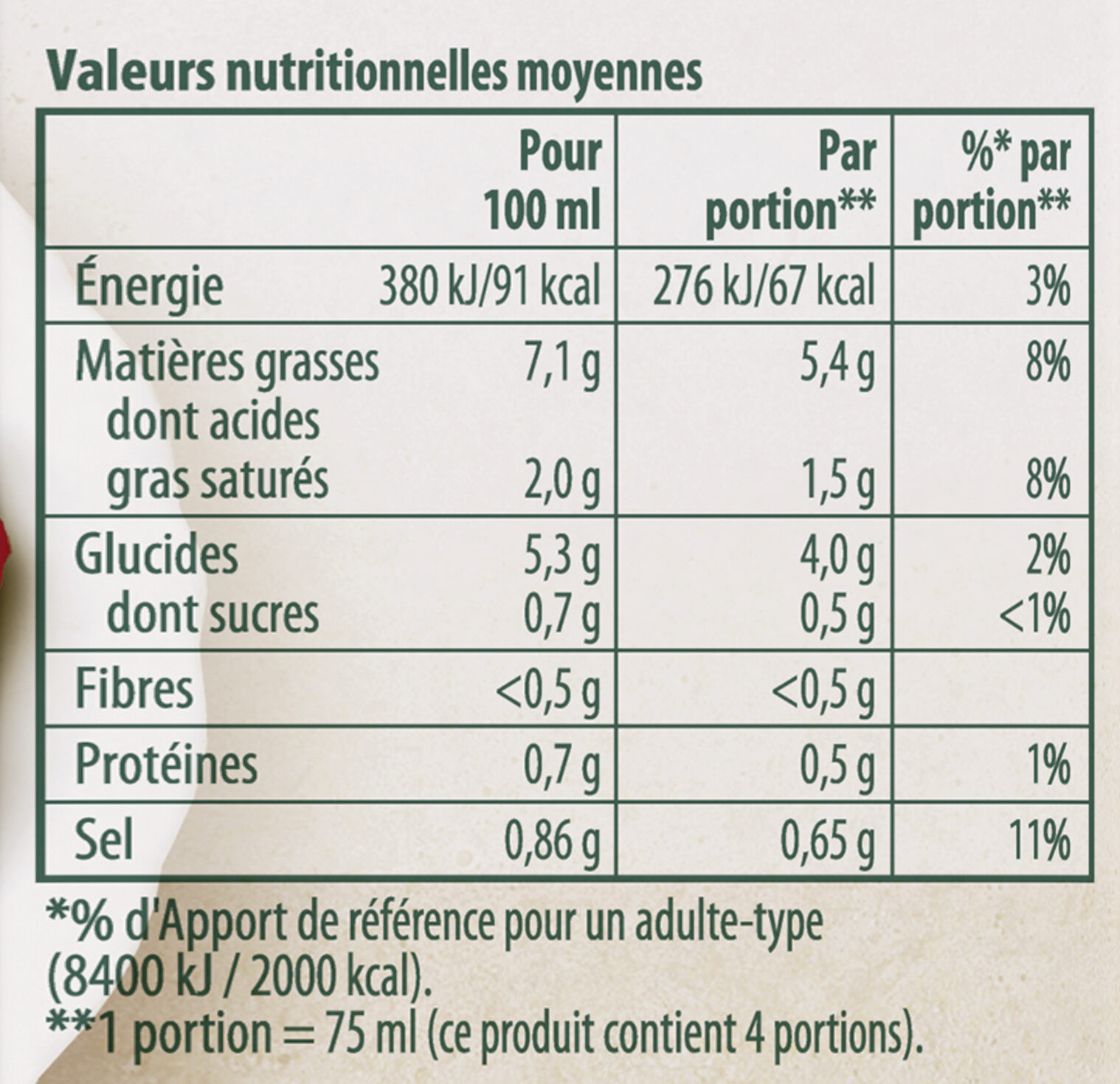 Knorr Sauce Champignons à la Crème Fraîche Brique - Voedingswaarden - fr