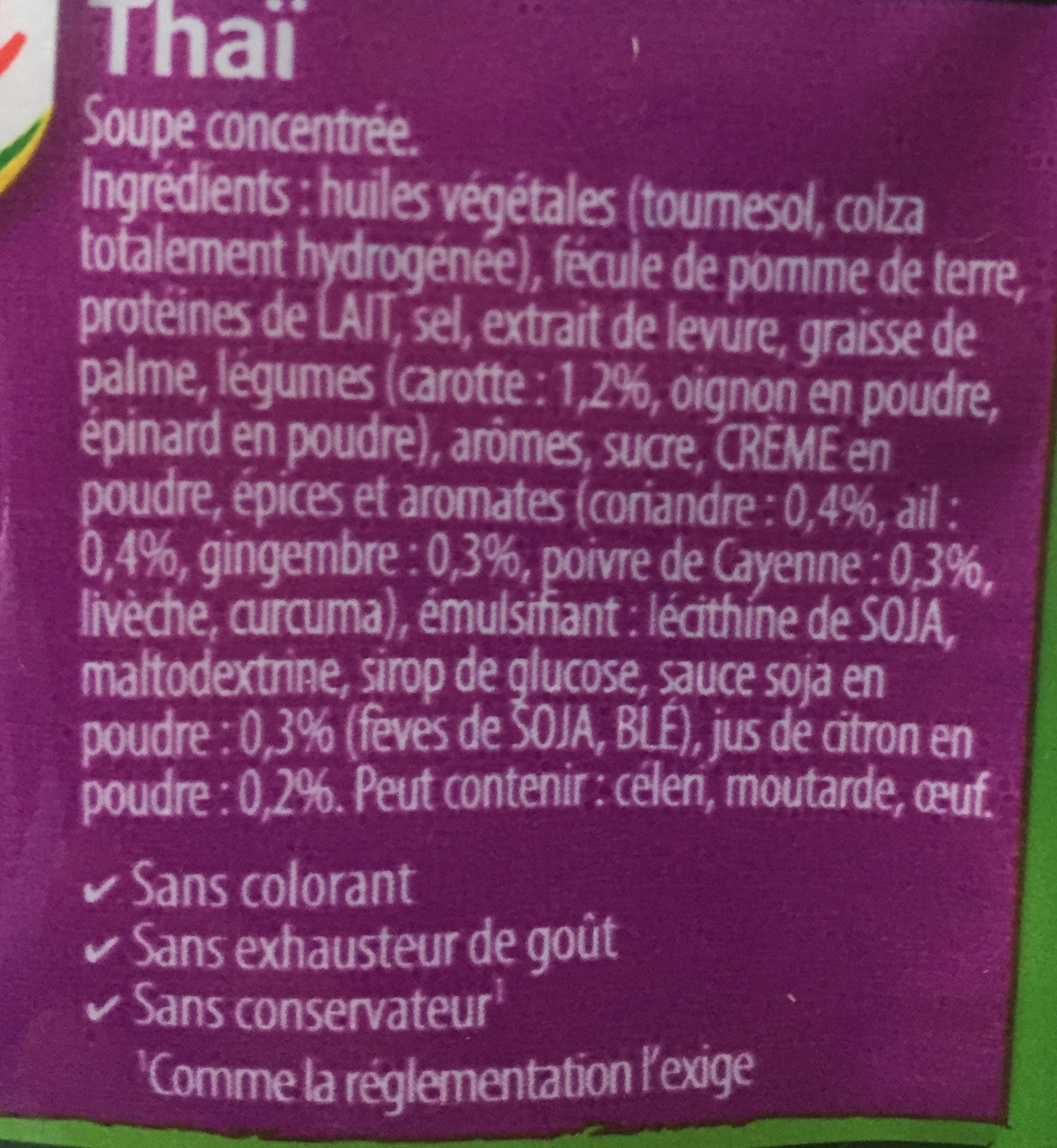 Soupissime instant Thai - Ingredients