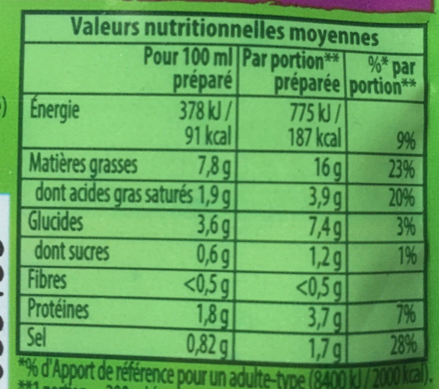 Soupissime instant Thai - Nutrition facts