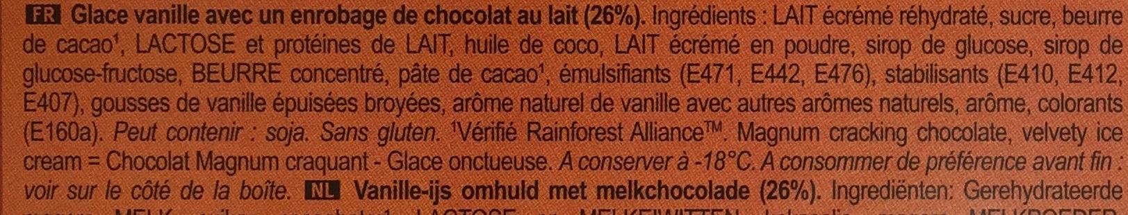 Magnum Chocolat au Lait - Ingrédients - fr