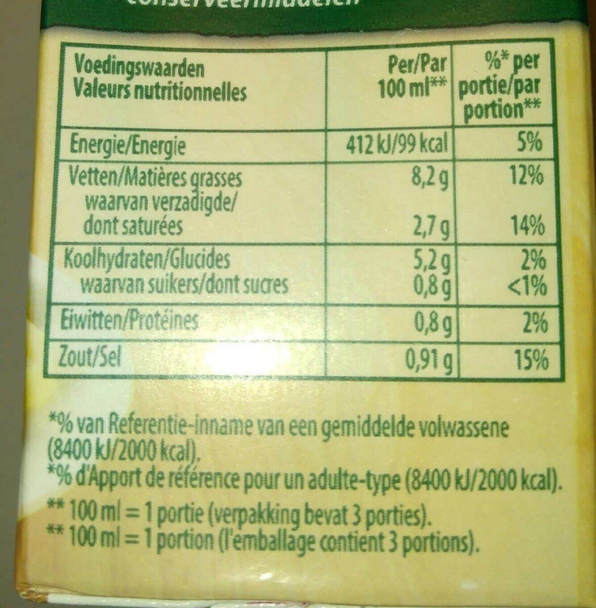 Knorr Champignonroomsaus - Nutrition facts - nl