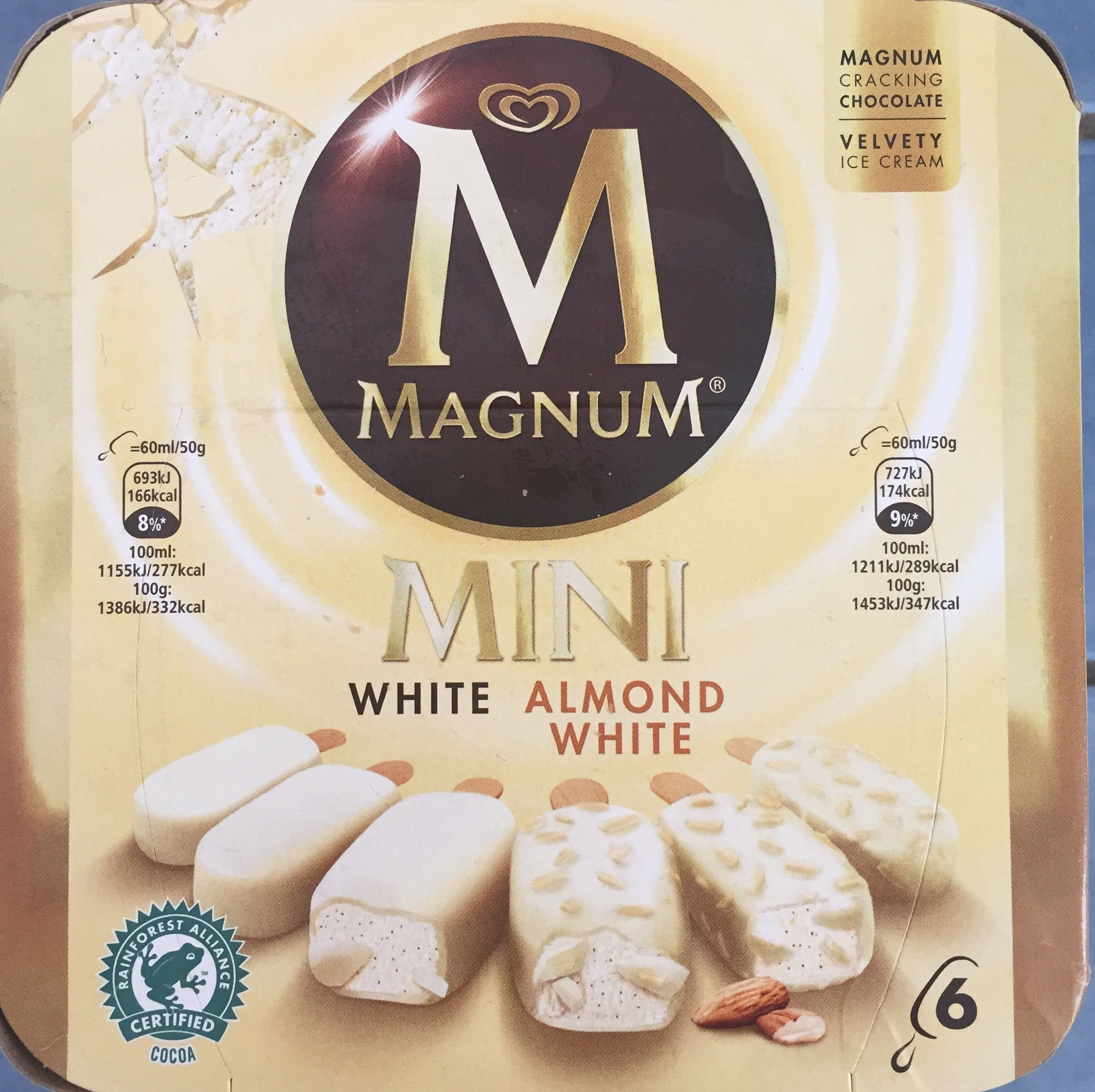 Magnum Mini Batonnet Glace Chocolat Blanc Amande x6 360ml - Produit - fr
