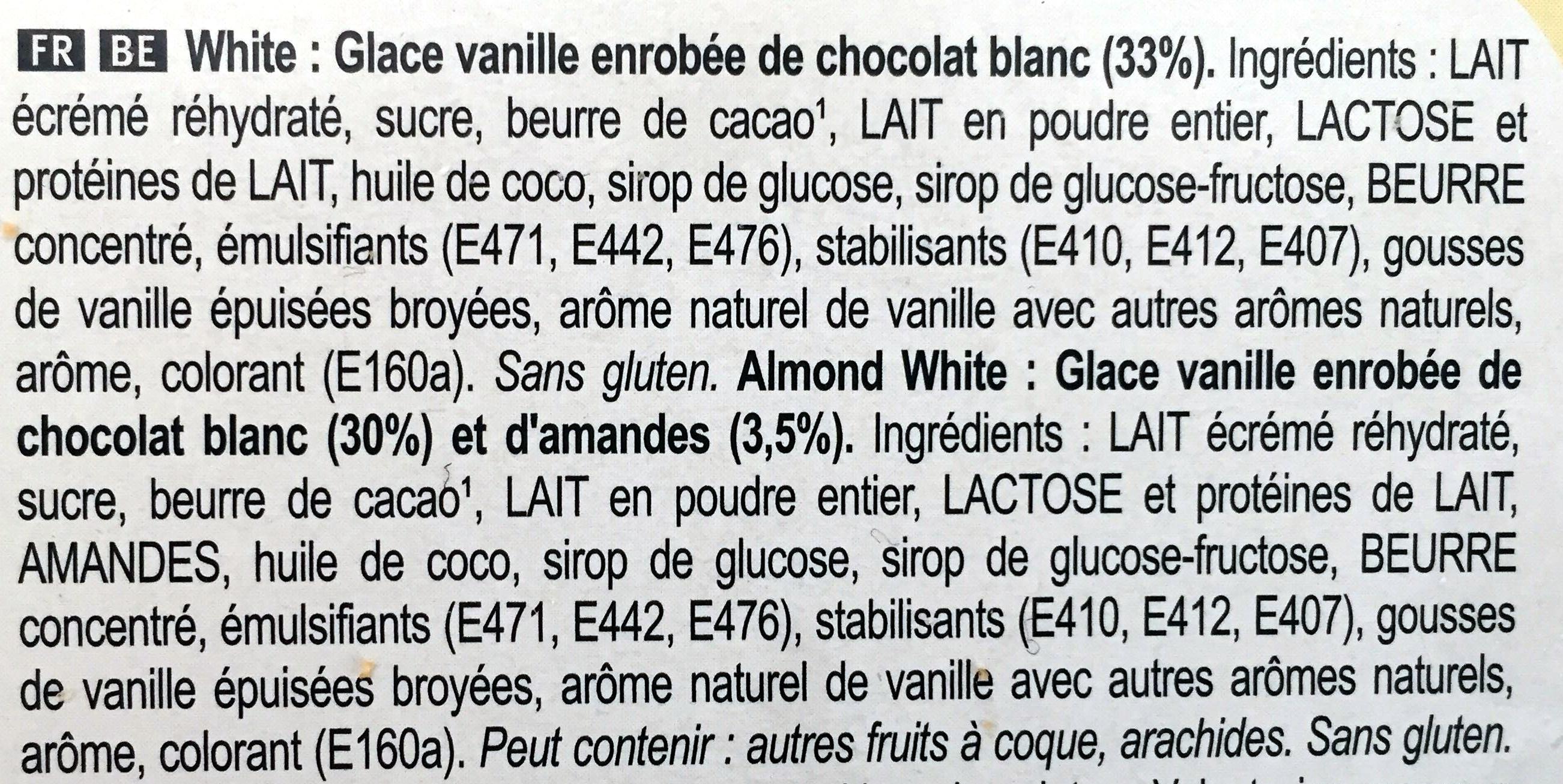 Magnum Mini Batonnet Glace Chocolat Blanc Amande x6 - Ingrédients - fr
