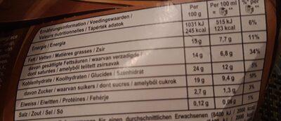 Viennetta - Informations nutritionnelles