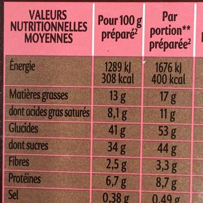 Mug Cake Chocolat intense - Informations nutritionnelles