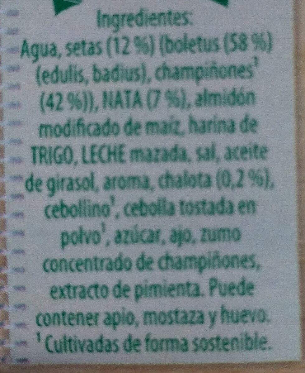 Crema de setas del bosque Knorr - Ingredientes