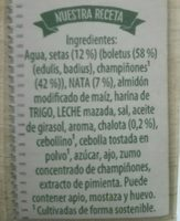 Crema de setas del bosque Knorr - Ingredients