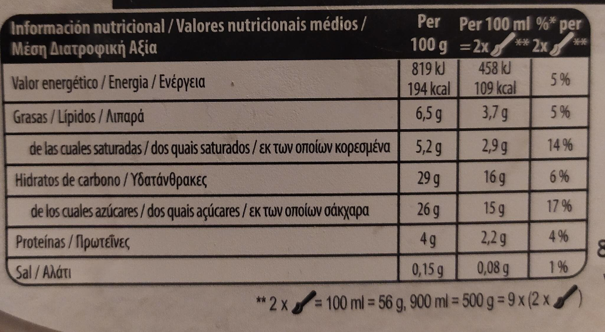 Gelateria Chocolate Brownie Ice Cream - Nutrition facts - fr