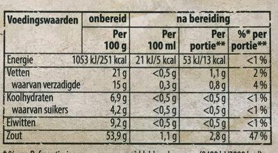 Groente bouillon - Voedingswaarden - nl