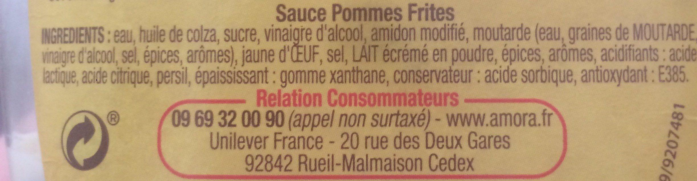 Amora Sauce Pommes Frites Flacon Souple 448g - Ingrédients - fr