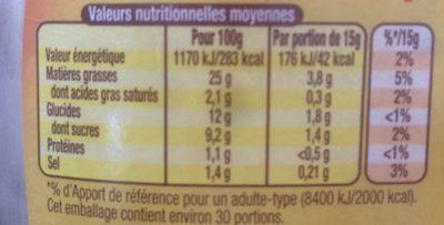 Amora Sauce Pommes Frites Flacon Souple 448g - Informations nutritionnelles - fr