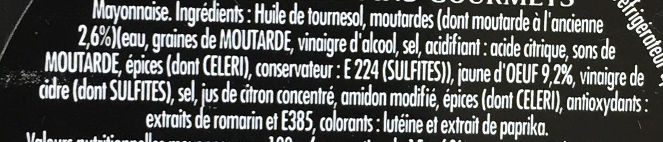 Mayonnaise Fins Gourmets qualité traiteur - Ingrédients - fr