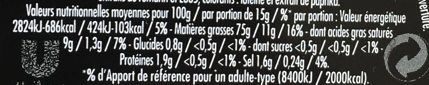 Mayonnaise Fins Gourmets qualité traiteur - Informations nutritionnelles