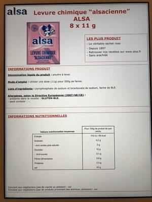 Levure chimique alsacienne - Nutrition facts - fr