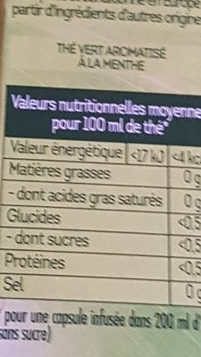 Thé Vert Marrakech Mint' - Informations nutritionnelles