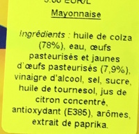 Real Mayonnaise - Ingredients - fr