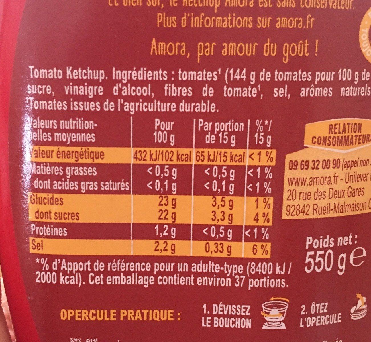 Amora Ketchup Nature Flacon Souple 550g Offre Saisonnière - Nutrition facts - fr