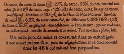Petits pots de crème chocolat noisettes - Ingrédients
