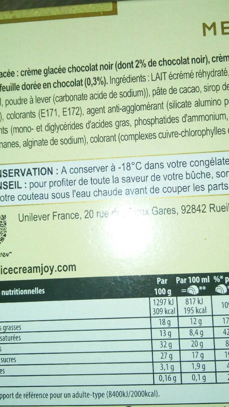 Collection - Informations nutritionnelles