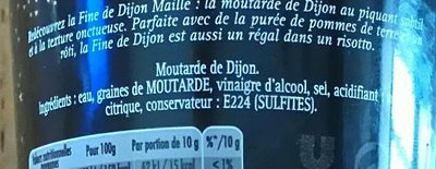 Moutarde fine Dijon Maille Edition limitée - Ingredients