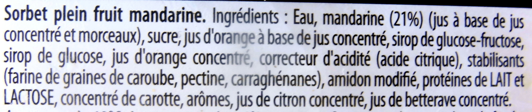 Sorbet plein fruit, mandarine - Ingrediënten - fr