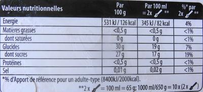 Sorbet plein fruit, mandarine - Voedingswaarden - fr