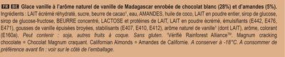 Magnum Glace Batonnet Chocolat Blanc Amande 4x100ml - Ingredients - fr