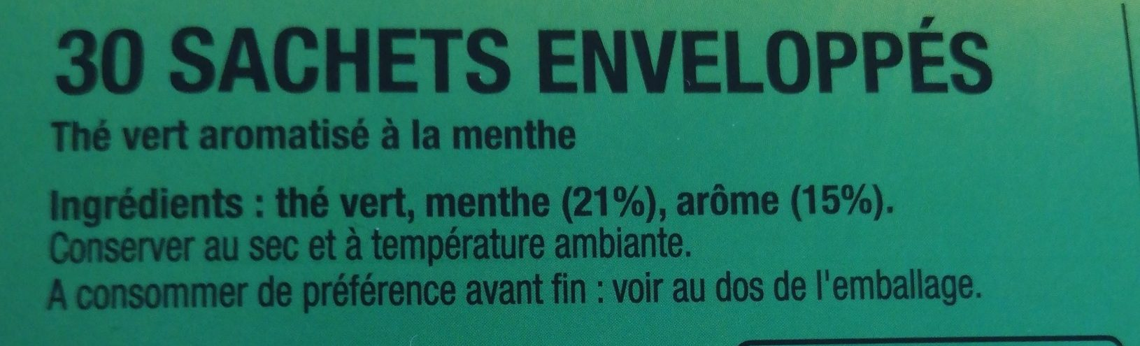 Lipton Thé Vert Menthe 30 Sachets - Ingredients