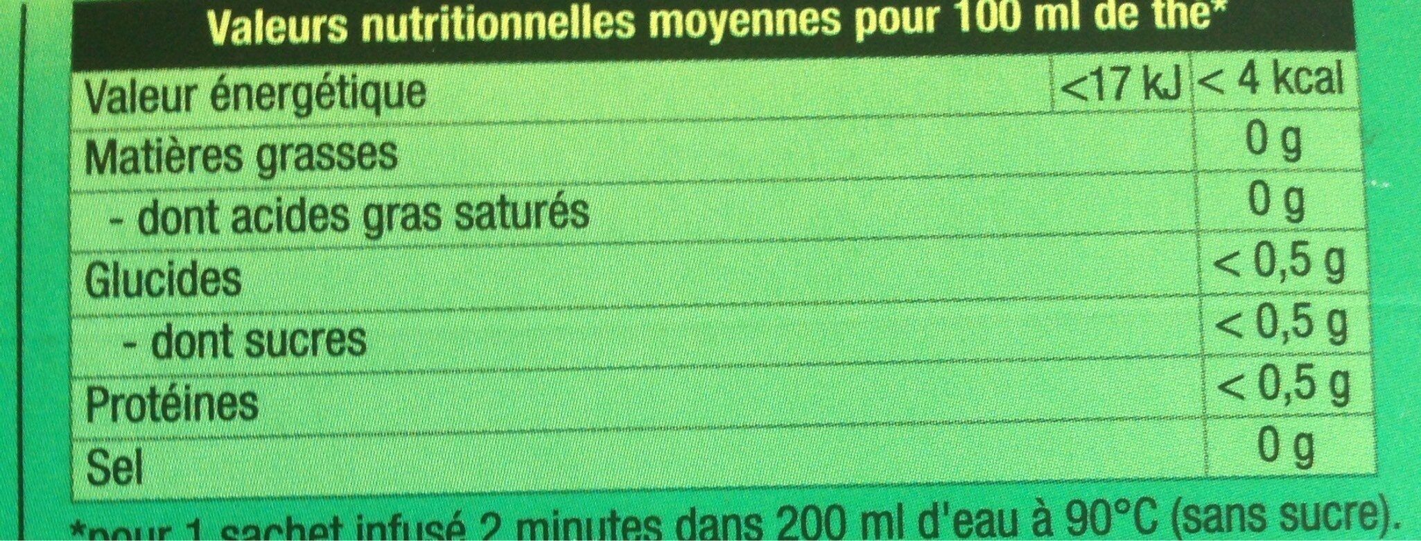 Thé vert menthe - Valori nutrizionali - fr