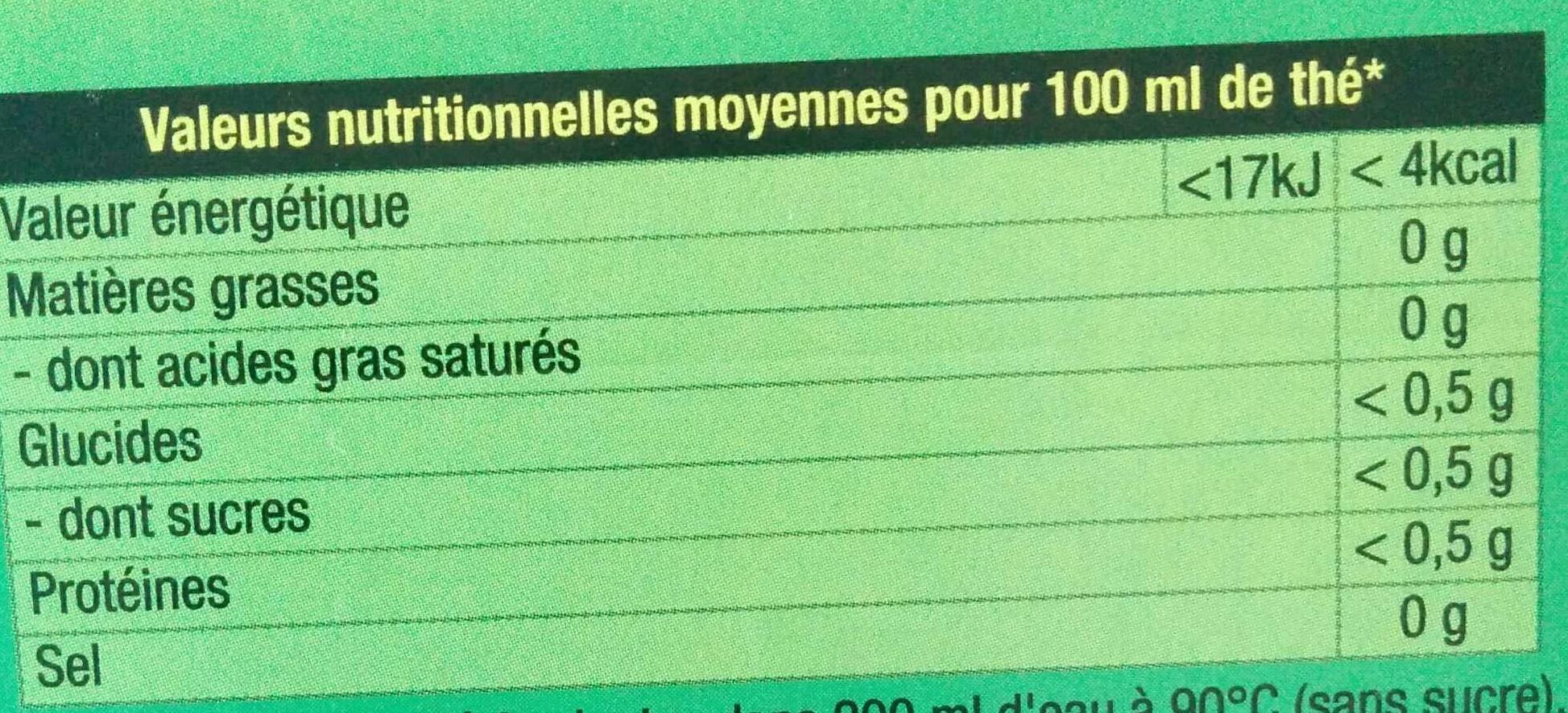 Lipton Thé Vert Menthe 30 Sachets - Informació nutricional